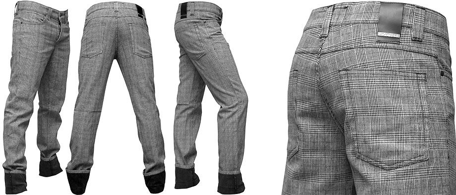MO'CYCLE-jeans-grey-checked-shabbe-fashion-design-by-the-artist-Moses-Shahrivar